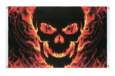 Skull with Fire Banner Flag 3x5 ft, landscape