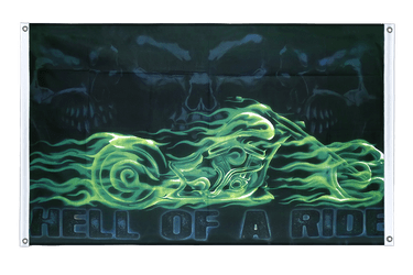 Skull Hell of a Ride Banner Flag 3x5 ft, landscape