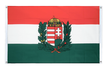 Hungary with crest Banner Flag 3x5 ft, landscape