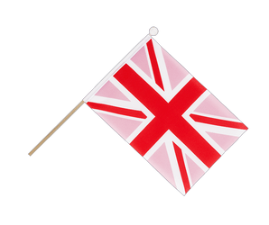 Drapeau sur hampe Union Jack rose - 15 x 22 cm