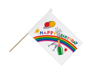 Drapeau sur hampe Happy Birthday - 15 x 22 cm
