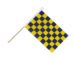 Checkered Blue-Yellow Hand Waving Flag 6x9""