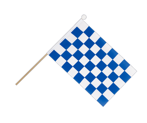 Checkered blue-white Hand Waving Flag 6x9""
