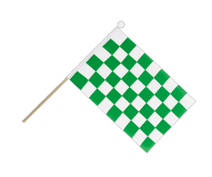 Checkered Green-White Hand Waving Flag 6x9""