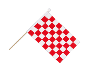 Checkered Red-White Hand Waving Flag 6x9""