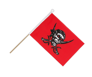 Drapeau sur hampe Pirate rouge 15 x 22 cm