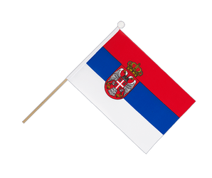 Serbia with crest Hand Waving Flag 6x9""