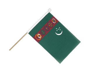 Turkmenistan Hand Waving Flag 6x9""