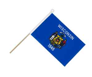 Wisconsin - Hand Waving Flag 6x9""