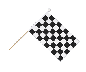 Checkered Hand Waving Flag 6x9""