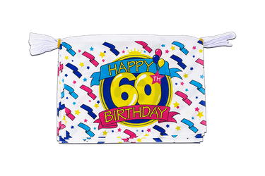 Mini Guirlande fanion Happy Birthday 60 ans 15 x 22 cm, 3 m