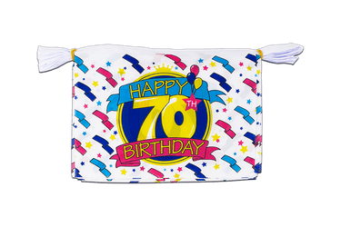 Mini Guirlande fanion Happy Birthday 70 ans 15 x 22 cm, 3 m