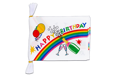 Mini Guirlande fanion Happy Birthday 15 x 22 cm, 3 m