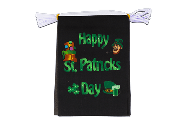 "Happy Saint Patrick's Day St Patrick's Black Flag Bunting 6x9"", 3 m"