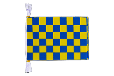 "Checkered Blue-Yellow - Mini Flag Bunting 6x9"", 3 m"