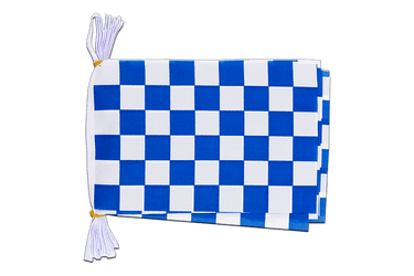 "Checkered blue-white - Mini Flag Bunting 6x9"", 3 m"
