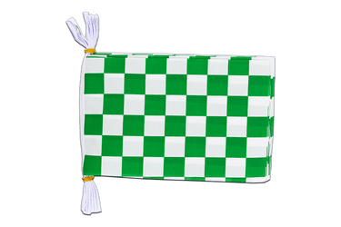 "Checkered Green-White Flag Bunting 6x9"", 3 m"