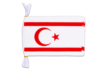 "North Cyprus Flag Bunting 6x9"", 3 m"