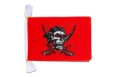 Mini Guirlande fanion Pirate rouge 15 x 22 cm, 3 m