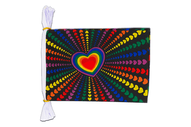 Mini Guirlande fanion Arc en Ciel Amour 15 x 22 cm, 3 m