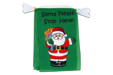 Mini Guirlande fanion Santa Please Stop Here 15 x 22 cm, 3 m
