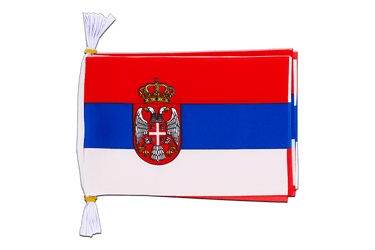 "Serbia with crest Mini Flag Bunting 6x9"", 3 m"