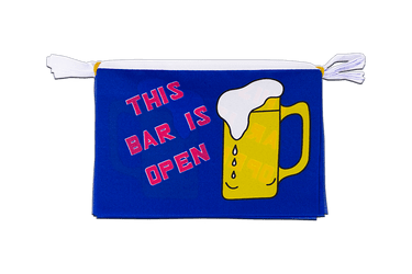Mini Guirlande fanion This Bar Is Open 15 x 22 cm, 3 m