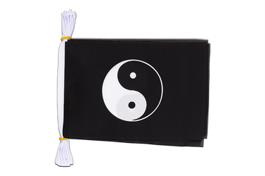 "Ying and Yang black Mini Flag Bunting 6x9"", 3 m"