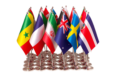 Kit 32 drapeaux de table prestige Coupe du Monde 2018 15 x 22 cm