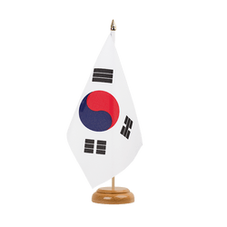 "South Korea Table Flag 6x9"", wooden"