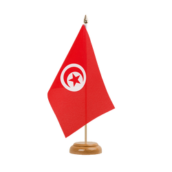 Drapeau de table Tunisie - 15 x 22 cm, bois