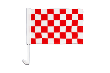 Checkered red-white Car Flag 12x16""
