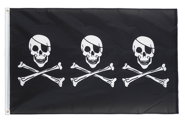 Pirate Three Skulls 3x5 ft Flag