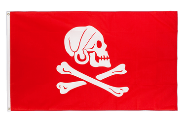 Drapeau Pirate Henry Avery rouge 90 x 150 cm