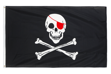 Pirate Red Eye Patch 3x5 ft Flag