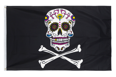 Pirate Sugar Skull 3x5 ft Flag