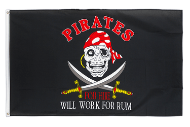 Pirate Pirates for hire 3x5 ft Flag