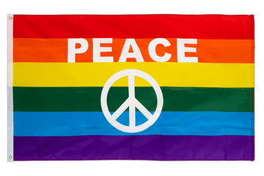 Rainbow Peace Sign 3x5 ft Flag
