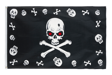 Pirate Bones and skulls red eyes 3x5 ft Flag