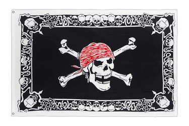 Pirate Skull with border - 3x5 ft Flag