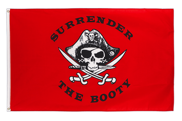 Drapeau Pirate Surrender the Booty rouge 90 x 150 cm