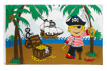Pirate Boy on treasure island 3x5 ft Flag