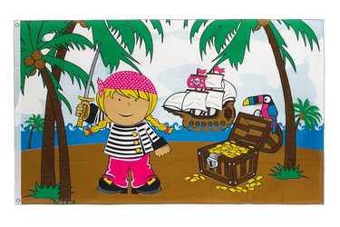 Pirate Girl on treasure island 3x5 ft Flag