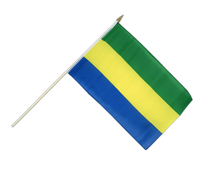 Gabon Hand Waving Flag 12x18""