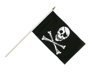 Pirate Skull and Bones Hand Waving Flag 12x18""