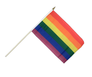 Rainbow Hand Waving Flag 12x18""