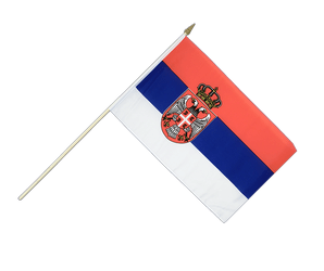 Serbia with crest Hand Waving Flag 12x18""