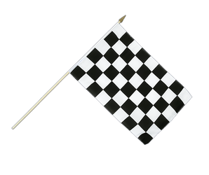 Checkered - Hand Waving Flag 12x18""