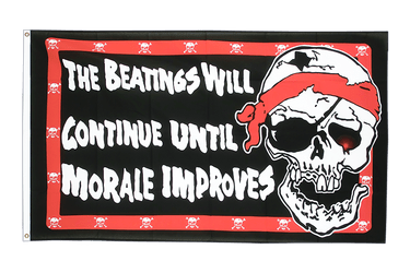 Drapeau Pirate Beatings will continue 90 x 150 cm