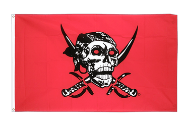 Drapeau Pirate rouge 90 x 150 cm